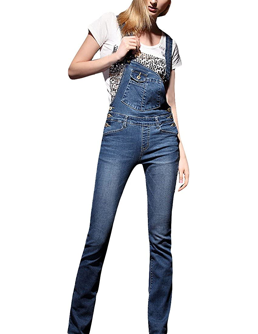 MFrannie Women Retro Elastic Slimming Breasted Casual Overall Pant