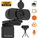 1080P Webcam, Anbber HD PC Webcam USB Mini Computer Camera Built-in Microphone, Flexible Rotatable Clip, for Laptops, Desktop and Gaming, Black