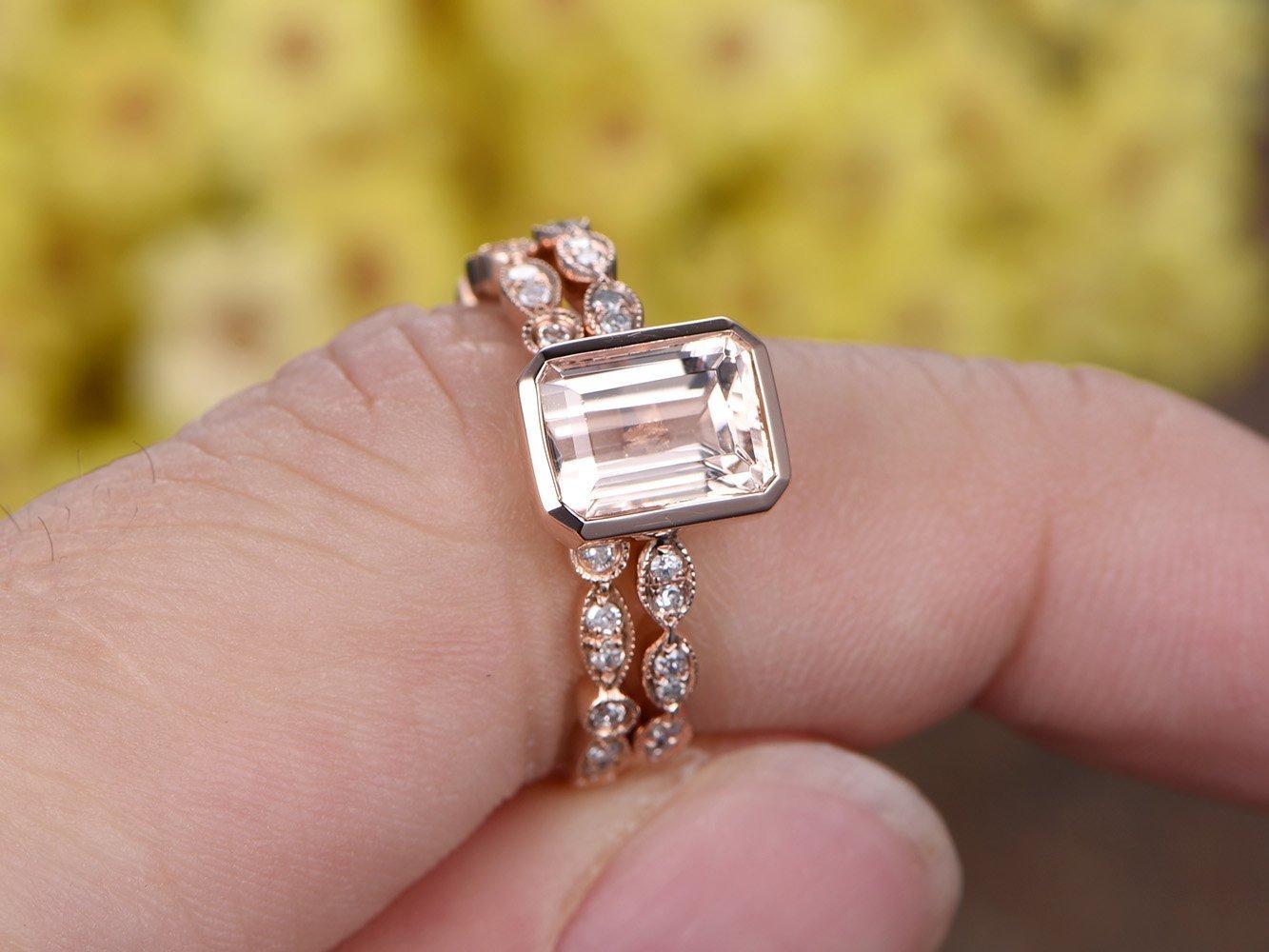 Amazon.com: 2pcs Diamond Rings Set, 6x8mm Emerald Cut Pink Morganite ...