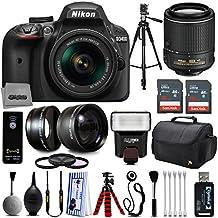Nikon D3400 DSLR Camera + 18-55mm and 55-200mm AF-P DX VR + 32GB Memory + 2.2X Telephoto and 0.43X Macro Lense Kit + Bounce Swivel Flash + Tripod + Padded Case Bag + UV CPL FLD Filter Bundle + Remote