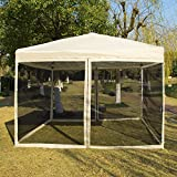 VIVOHOME Outdoor Easy Pop Up Canopy Screen Party Tent with Mesh Side Walls 10 x 10 ft