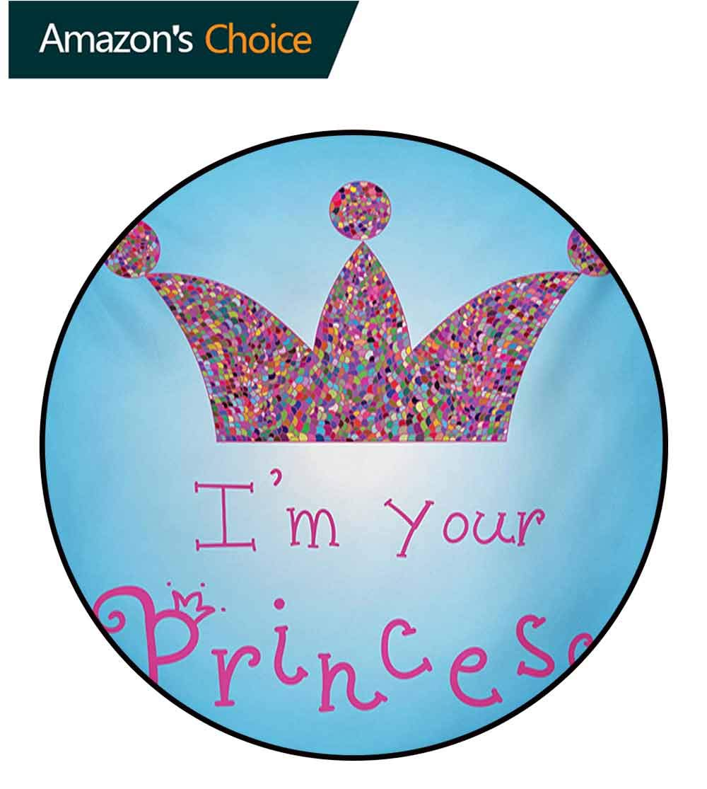 RUGSMAT I Am A Princess Round Rug,Romantic Quote Couples in Love Colorful Mosaic Style Crown Tiara Carpet Door Pad for Bedroom/Living Room/Balcony/Kitchen Mat,Diameter-71 Inch Blue Pink Multicolor by RUGSMAT (Image #3)
