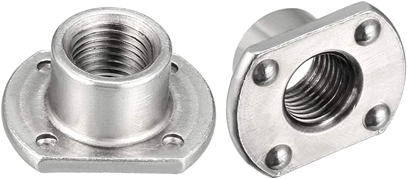 M8 T-Shaped Carbon Steel Slab Base 4 Projection Welding Nuts Pack of 25
