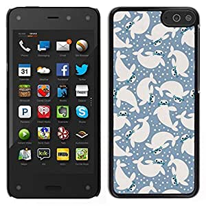 EJOY---Cubierta de la caja de protección para la piel dura ** Amazon Fire Phone ** --mar sello ballena azul amarillento nieve animales