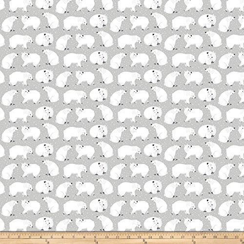 Northcott Hugs Polar Bears Light Grey Fabric by The Yard