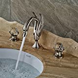 Zovajonia Brushed Nickel Swan Basin Sink Faucet Widespread Bathroom Mixer Crane Taps Deck Mounted