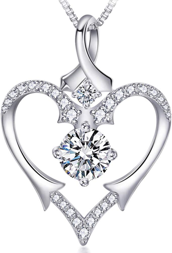 Valentine/'s Day Love Gift Heart Infinity Necklace Pink Sapphire 14K White Gold Plated