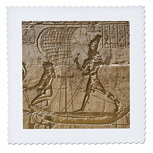 3dRose qs_69691_1 Egypt, Edfu, Outer Wall Relief, Sacred Funerary Barque-Af14 Dbr0170-Dave Bartruff-Quilt Square, 10 by ()