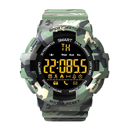 YUEC Camuflaje Reloj Inteligente, Reloj de los Deportes Digitales ...
