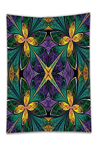 Interestlee Satin drill Tablecloth?3D Fractal Decor Antique Ornate Symmetric Stained Glass Style Floral Pattern With Free 3D Glasses Green Purple Dining Room Kitchen Rectangular Table Cover Home (Texas Holdem Stained Glass)