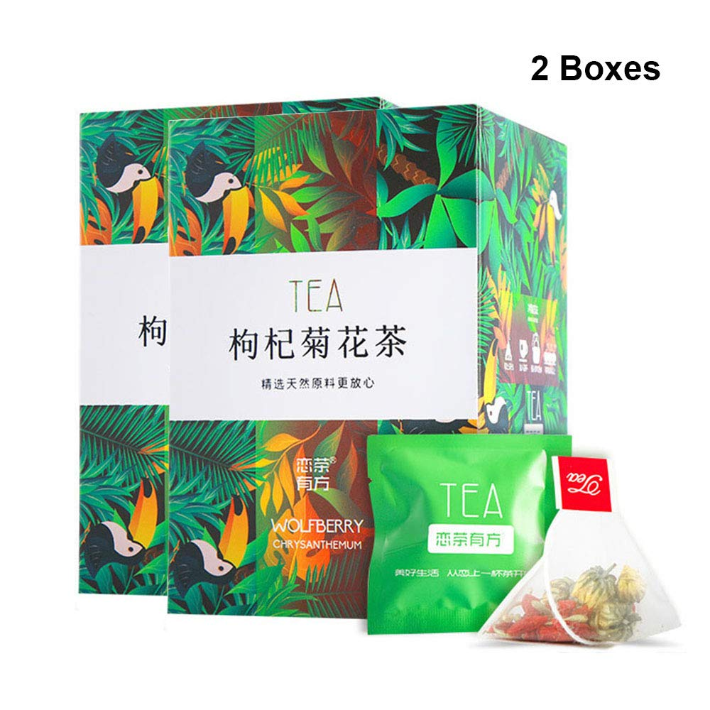 Amazon Com Goji Berries Chrysanthemum Tea Bags 枸杞菊花茶 Chinese Pure Nature Wolfberry Health Mixed Herbal Tea Clearing Liver 清肝明目 降肝火 Grocery