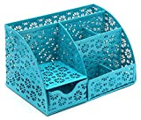 EasyPAG Cute Metal Office Desk Organizer Snow Shaped Pattern Design with Drawer,Dark Teal