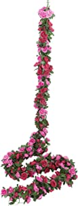 Miracliy 5 Pack 41 FT Fake Rose Vine Flowers Plants Artificial Flower Hanging Rose Ivy Home Hotel Office Wedding Party Garden Craft Art Décor (Red & Fuchsia)