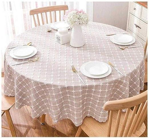 Y DWAYNE Manteles El algodón y el Lino Ronda Mantel, Bordado Tela Escocesa Diseño a Prueba de Polvo Mantel, Q-39963 (Color : C, Size : 100cm): Amazon.es: Hogar