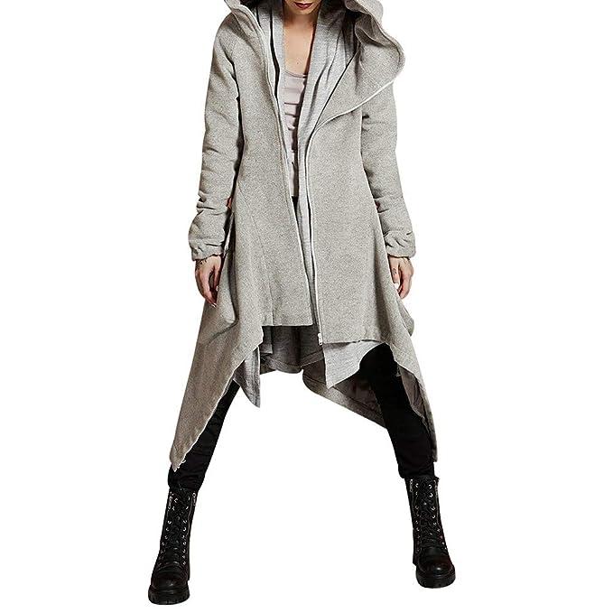 Modaworld_Chaqueta de mujer Chaqueta de Invierno Mujer Abrigo de Moda de otoño Casual Hoodie Abrigo de Color Liso Abrigo de Cremallera Irregular Abrigo con ...