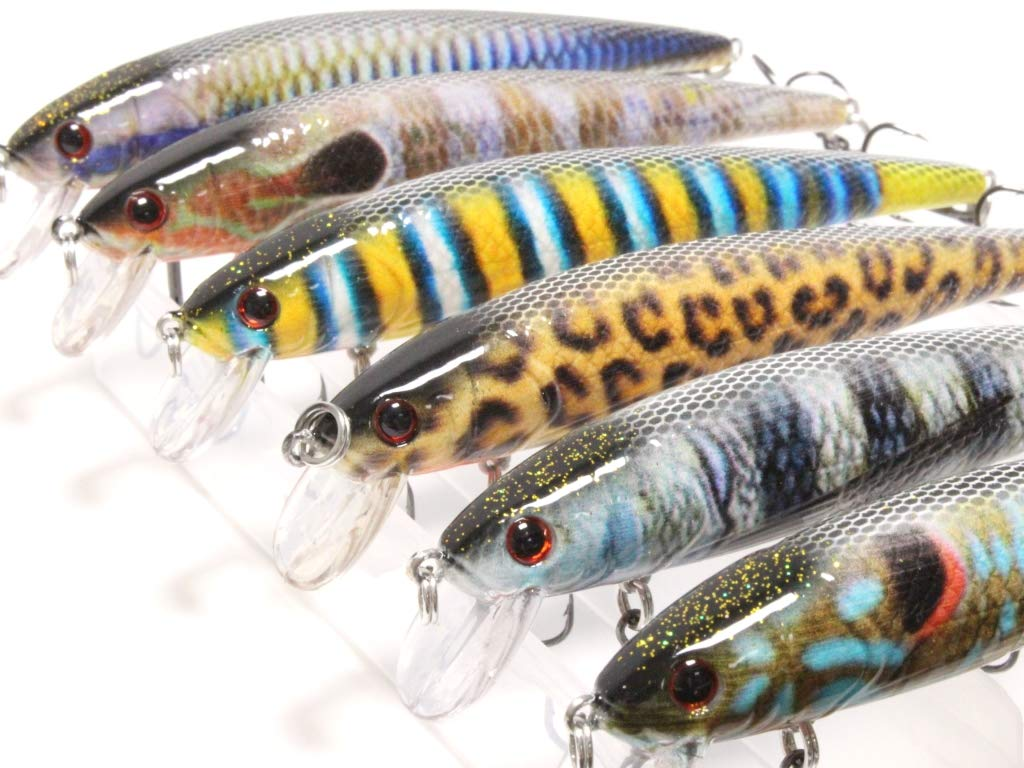 wLure Minnow Crankbait for Bass Fishing Bass Lure 3 Hooks Fishing Lure HM509KB by wLure