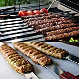 Goutime 23 Inch, 1 Inch Wide Stainless Steel BBQ Skewers for Koubideh / Persian / Brazilian Kabob , Set of 6