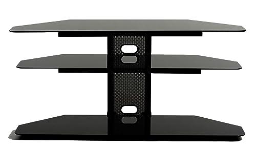 TransDeco Corner TV Stand with 2 AV Shelves for 32 to 55-Inch Plasma LCD TV
