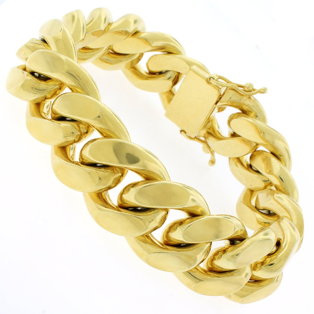 Sterling Silver 19.5mm Miami Cuban Curb Link Thick Solid 925 Yellow Gold Plated Bracelet Chain 9''