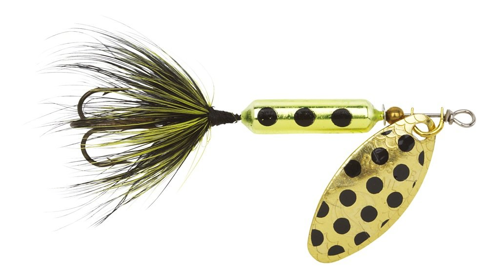 Yakima Bait Wordens Original Rooster Tail Spinner Lure, Metallic Chartreuse Spot, 1/6-Ounce by Yakima Bait