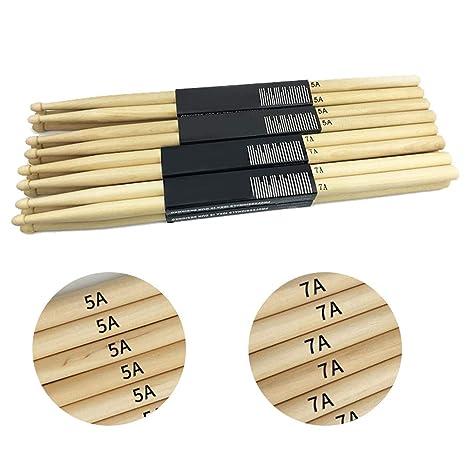 1 par de Rycnet On-Stage Baquetas ligeras de madera de arce 7A para bater/ía Wood7A