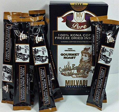 100% Kona Coffee Freeze Dried Instant (12 Individual 1.7g Stick Packs)