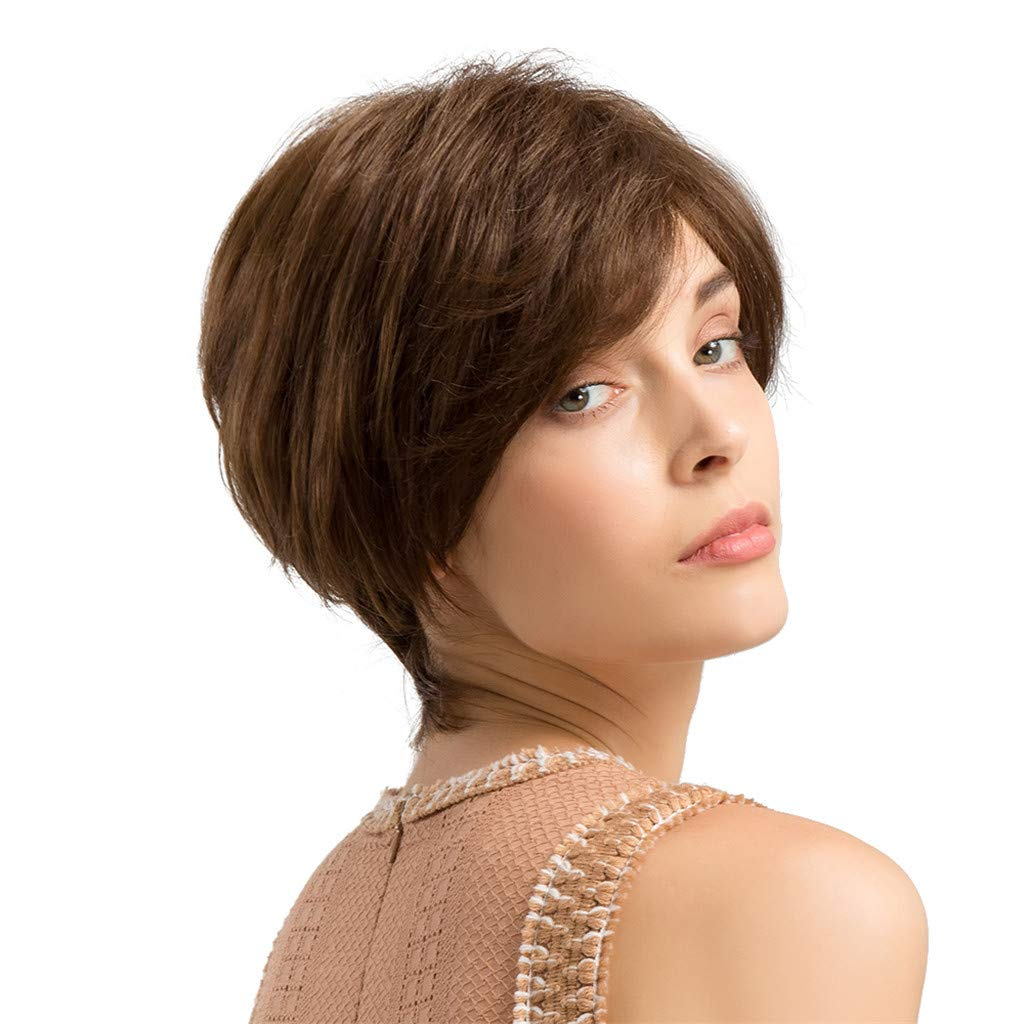 Wig,SUPPION Women 24cm Brown Short Curly Hair Hairstyle Human Hair Wigs Beautiful and Natural - Cosplay/Party/Costume/Carnival/Masquerade (A)