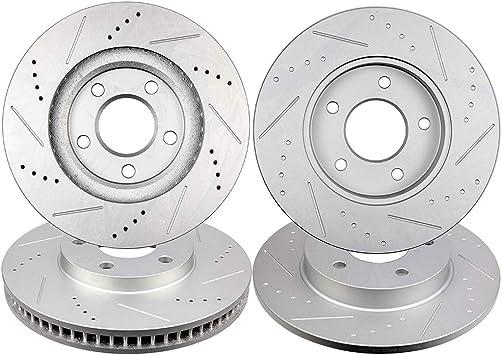 Ceramic Pads 1997-2004 Park Avenue Eldorado Aurora Front /& Rear DRILL Rotors