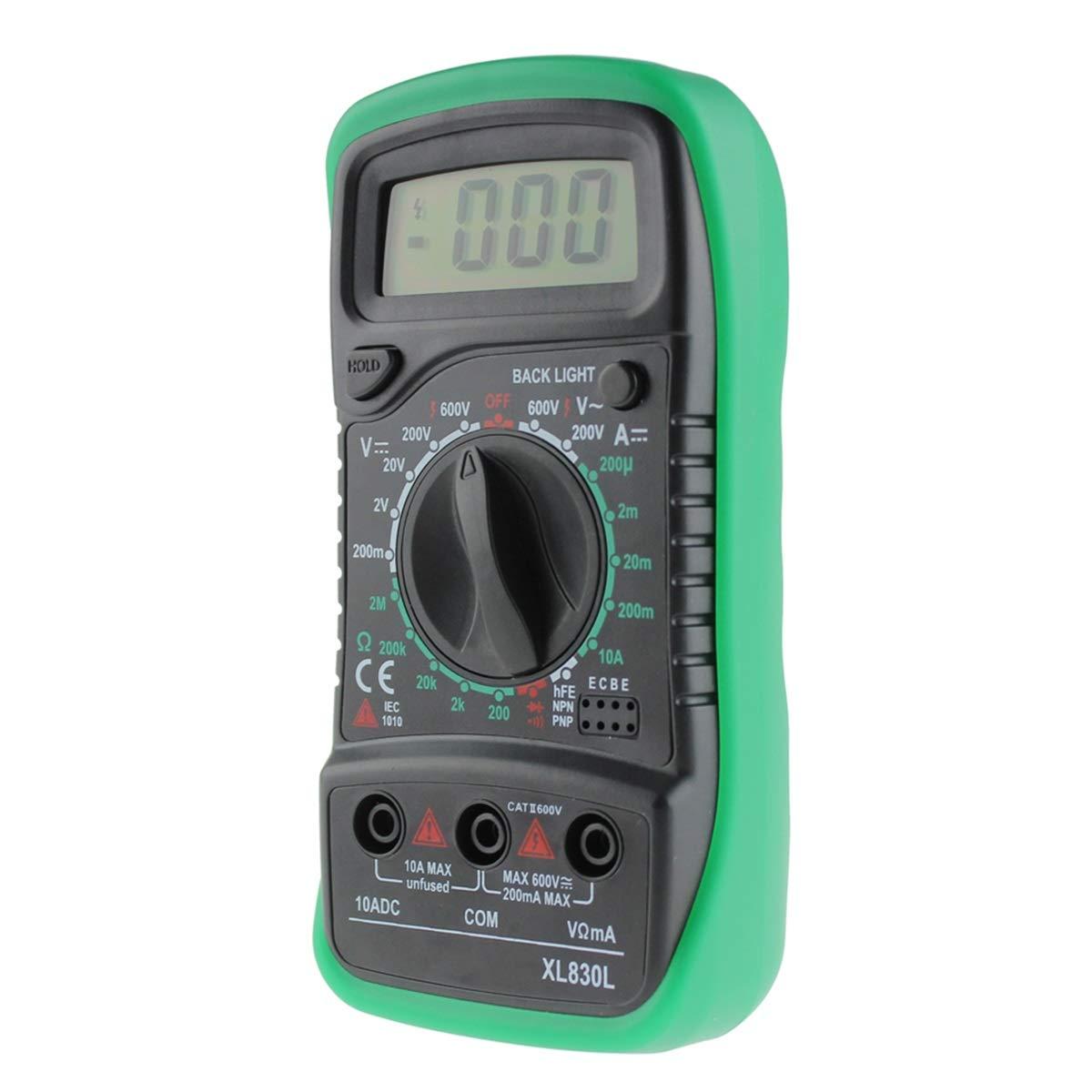 Color : Green Jinxuny Mult/ímetro Digital XL830L Mult/ímetro Retroiluminaci/ón LCD Digital Mult/ímetro Volt/ímetro Amper/ímetro AC DC Ohm Volt Tester Medidor de medici/ón de Corriente de Prueba