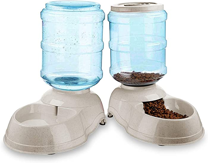Zone Tech Automatic Self-Dispensing Pet Feeder and Water Dispenser - Premium Quality Durable Self-Dispensing Pet, Dog, Cat Gravity 1 Gallon Feeder and 3.7 Liters Pet Waterer