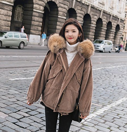 Deep Coat color Hair 3119 Corduroy Cotton Cotton Thickening Waist coffee Large Cotton Jacket Women Collar Short Section Jacket 'S Xuanku Winter IHTw1qnA