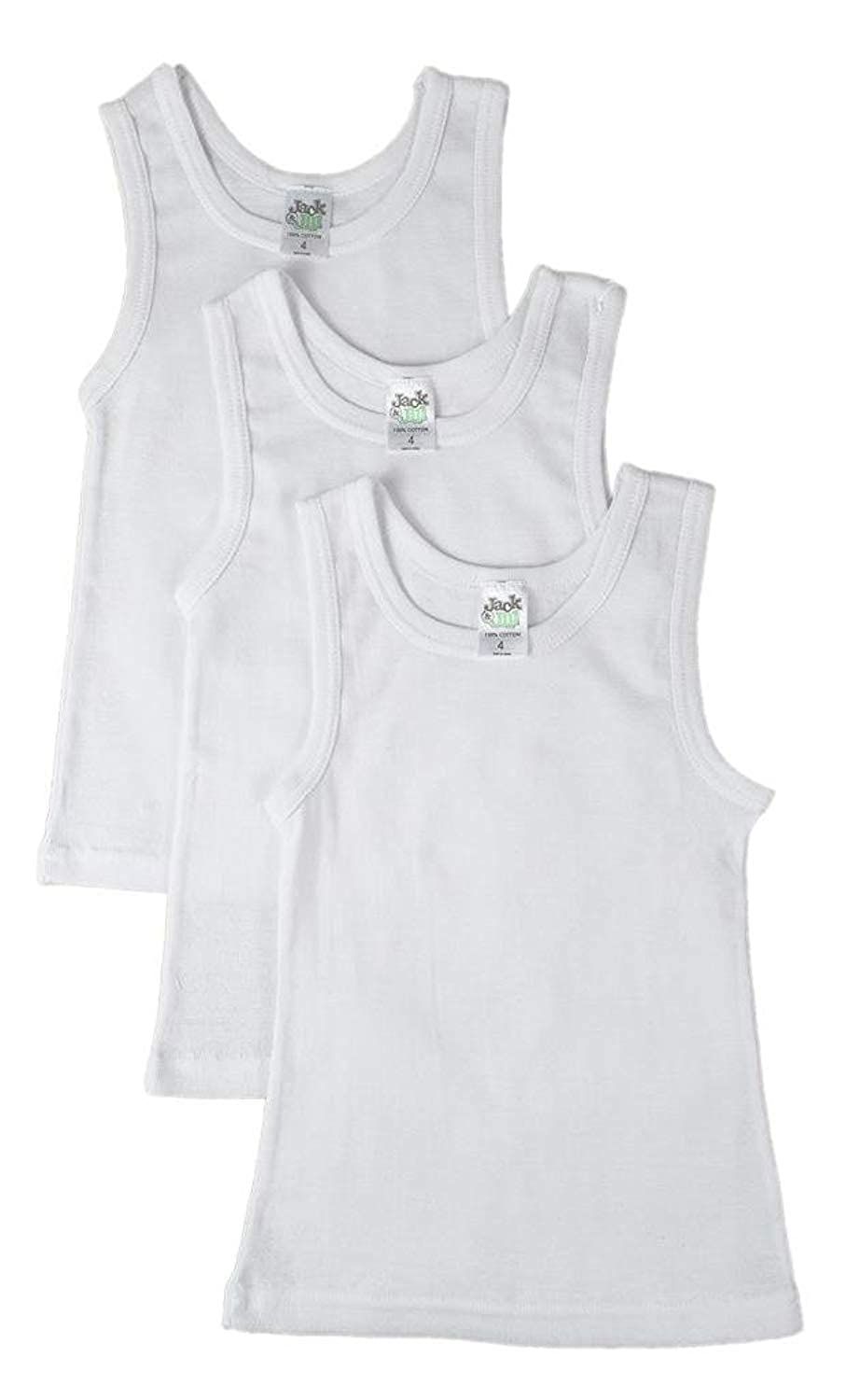 Jack 'n Jill Boys 100% Combed Cotton Undershirt In Solid White (3 Pack) Size 18 902