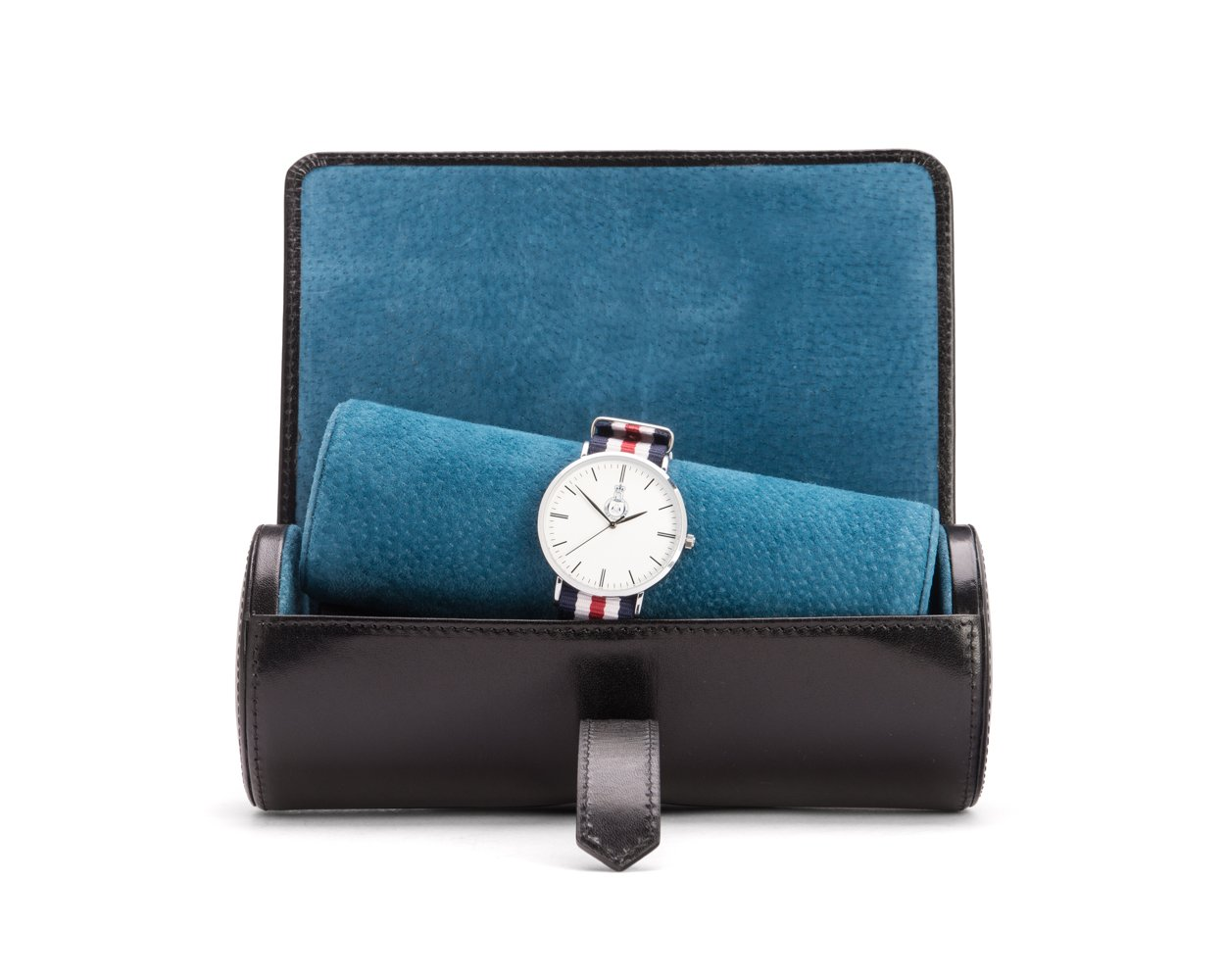 SAGEBROWN Black With Cobalt Large Watch Roll