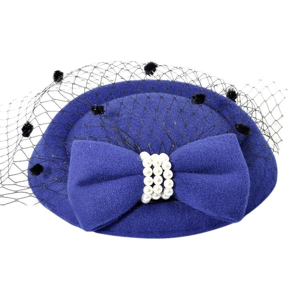 yanbirdfx Vintage Solid Color Mesh Faux Pearl Women Fascinator Hair Clip Party Derby Hat - Sapphire