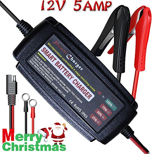 LST 5Amp 12V Vehicle Battery Charger Maintainer Smart Fast Waterproof with 4 Stages Charging for All types of ATV lawn mower motorcycle automotive marine RV AGM Gel cell Batteries