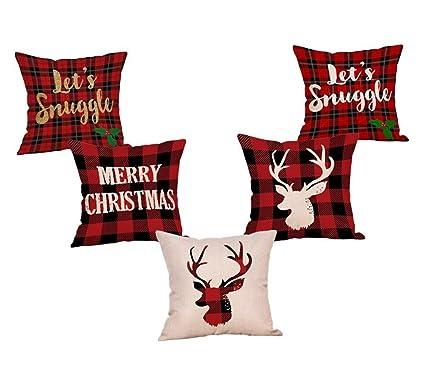 Amazon StevenSmith 40 Pack Red Black Christmas Scottish Buffalo Impressive Tartan Pillow Covers