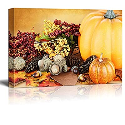 Canvas Prints Wall Art - Beautiful Autumn Display with Acrorns, Leaves and Pumpkins | Modern Wall Decor/Home Art Stretched Gallery Canvas Wraps Giclee Print & Ready to Hang - 24