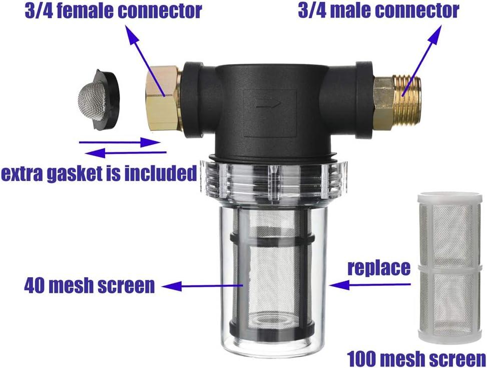 Extra 100 Mesh M MINGLE Gartenschlauchfilter f/ür Hochdruckreiniger Inline-Filter f/ür Sedimente 40 Meshsieb Zulaufwasser