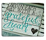 Wknoon Gaming Mouse Pad Custom, Begin Each Day with a Grateful Heart Wood Signs with Sayings,Personalized Design Non-Slip Rubber Mousepad