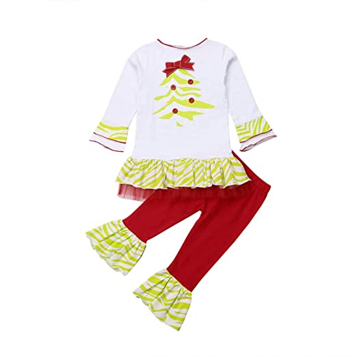 d7e22233f GoodFilling Toddler Baby Girls Christmas Tree Print Top T-Shirt with Flare Long  Pants Xmas