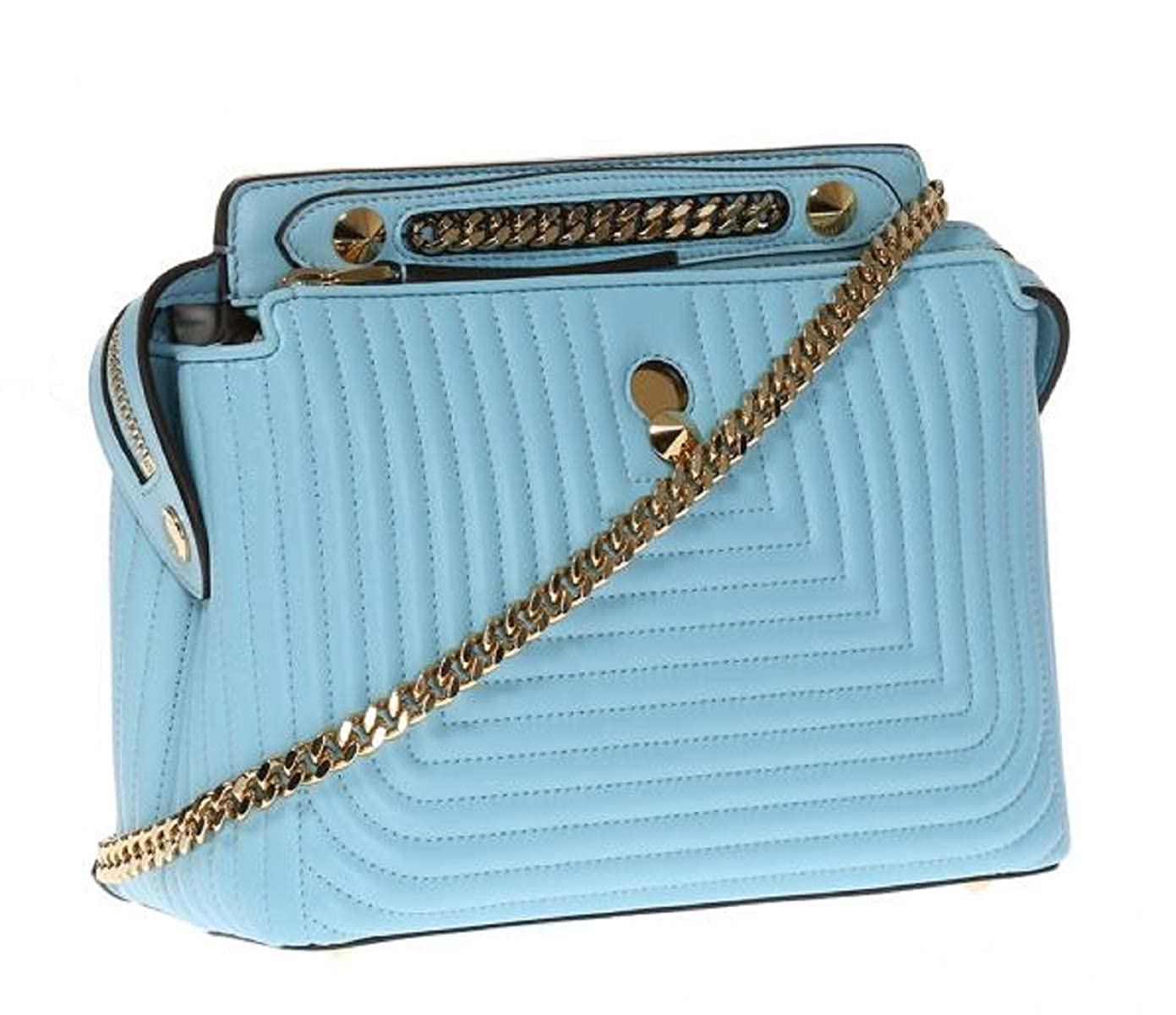 a9ec189c3d66 Fendi Dotcom Click Blue Turquoise Small Quilted Lambskin Leather Chain  Satchel Bag Gold Hardware 8BN299  Handbags  Amazon.com