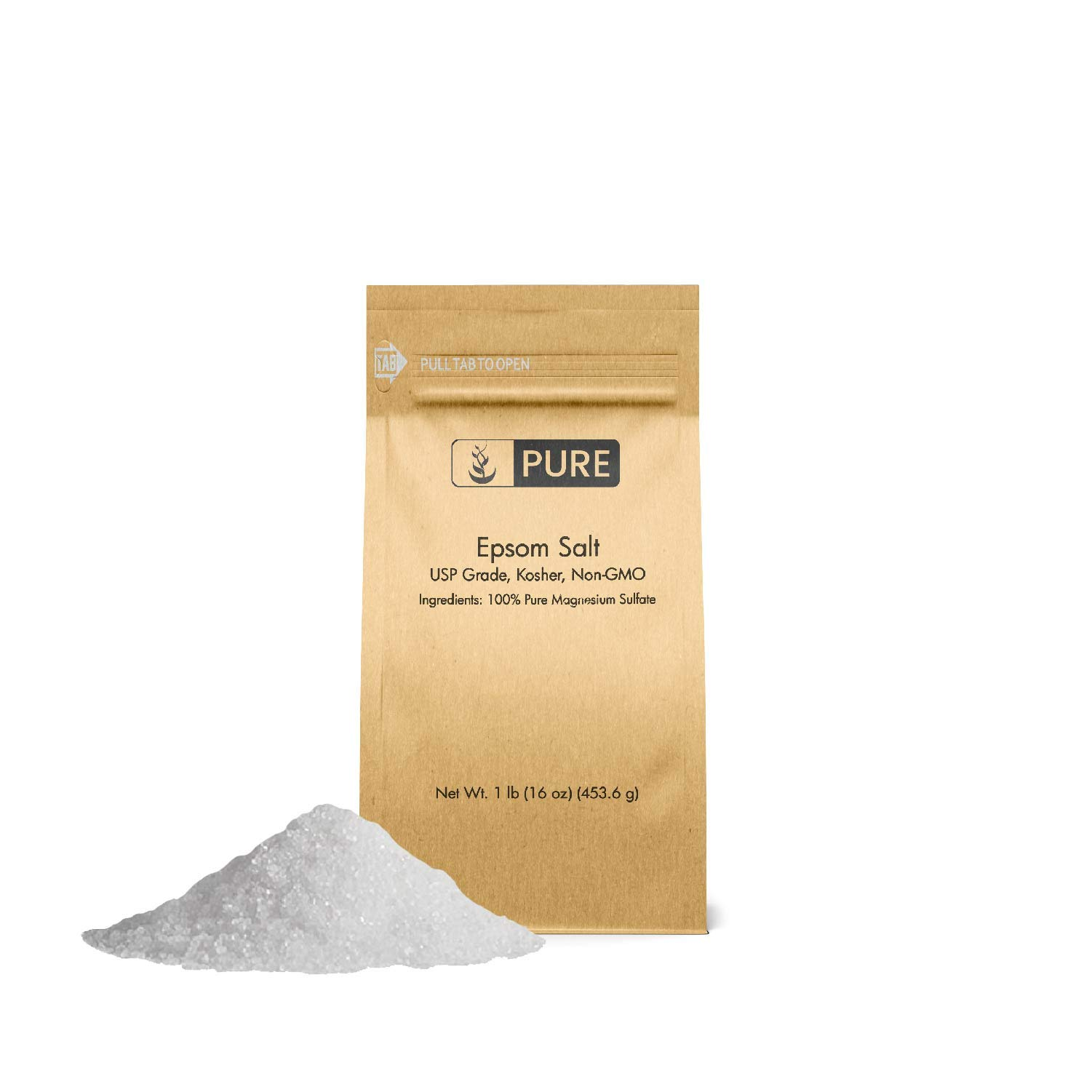 Pure Epsom Salt (1 lb.), Magnesium Sulfate Soaking Solution, All-Natural, Highest Quality & Purity, Top Grade