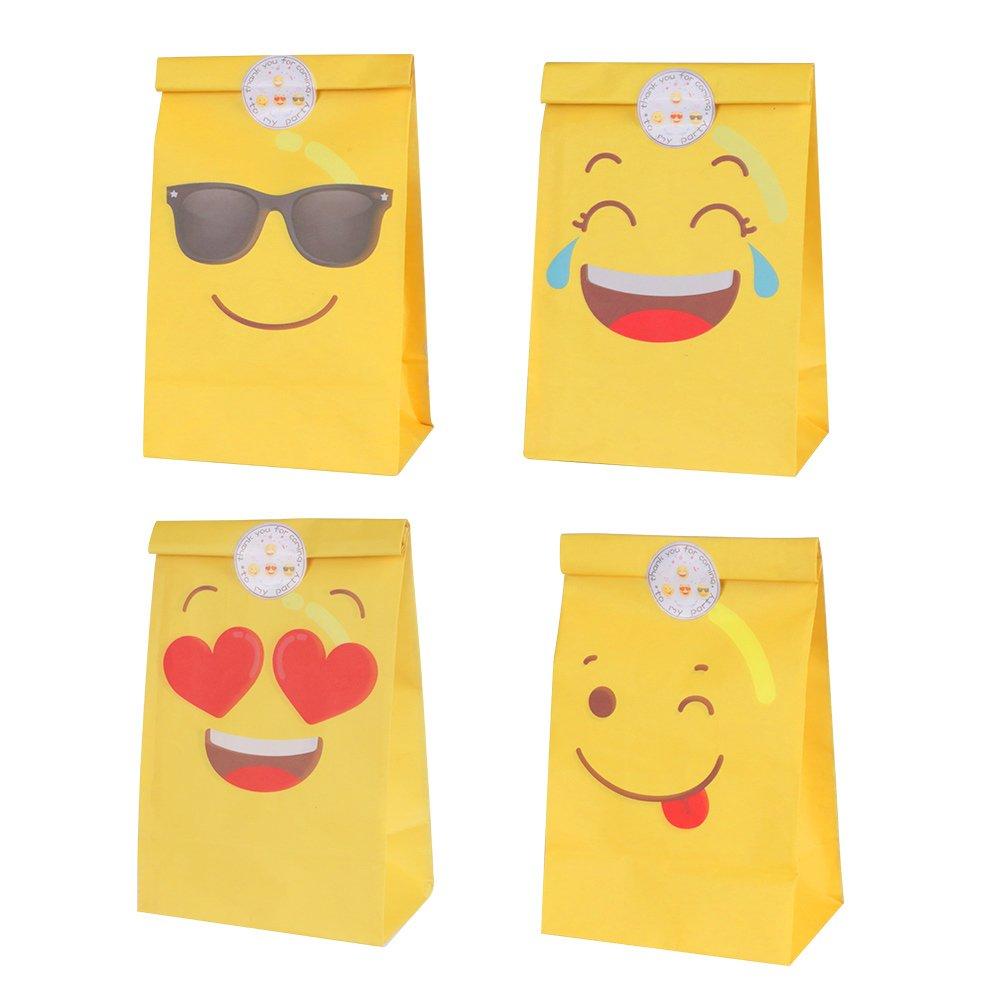 Aytai 48 pezzi Emoji sacchetti di favore di partito con 4 diversi disegni per bambini Emoji borse per feste di compleanno (4 dozen)