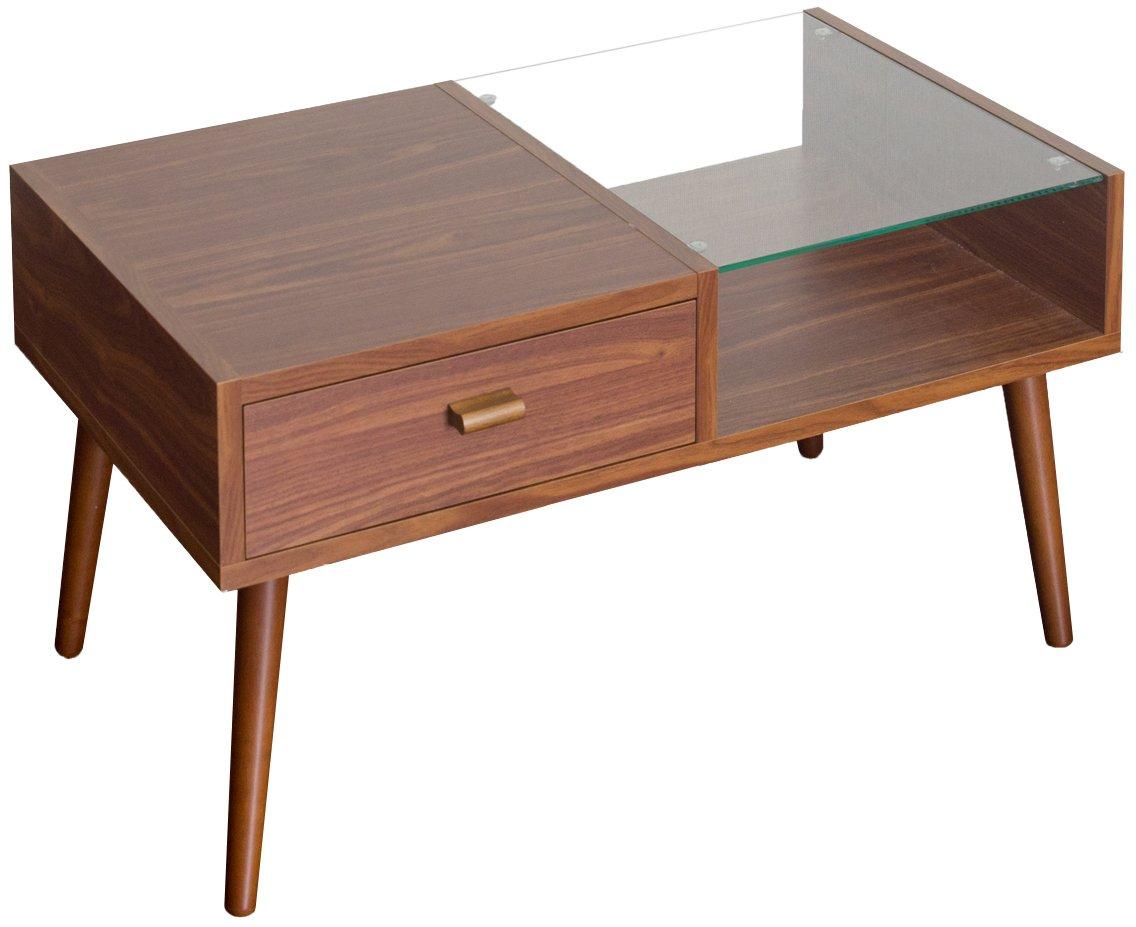 【魅せる収納と隠す収納で使い分け】 ディスプレイ付き センターテーブル (ライトブラウン) B07CSN9MVD ライトブラウン ライトブラウン