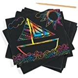 Chingora Collections Latest Do it Yourself (DIY) Rainbow Art Scratch Paper Sheets with Stylus, 10 Pages