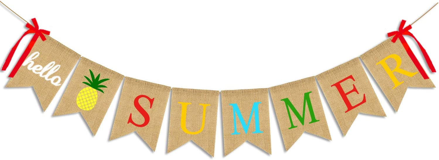 JOZON Hello Summer Burlap Banner Jute Summer Bunting Banner Garland Pineapple Summer Decorations for Holiday Party Mantel Fireplace Wall Hawaiian Party Supplies Decors