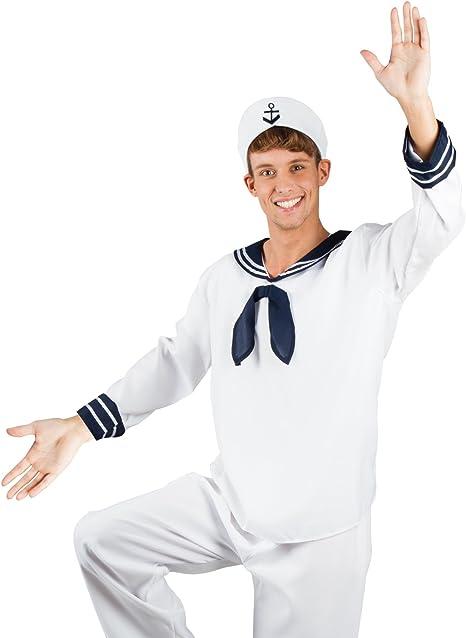 Disfraz de marinero para hombre blanco, uniforme y sombrero ...