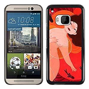 Shell-Star Arte & diseño plástico duro Fundas Cover Cubre Hard Case Cover para HTC One M9 ( Naked Nude Asian Japanese Woman Art Chinese )