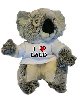 Koala personalizada de peluche (juguete) con Amo Lalo en la camiseta (nombre de