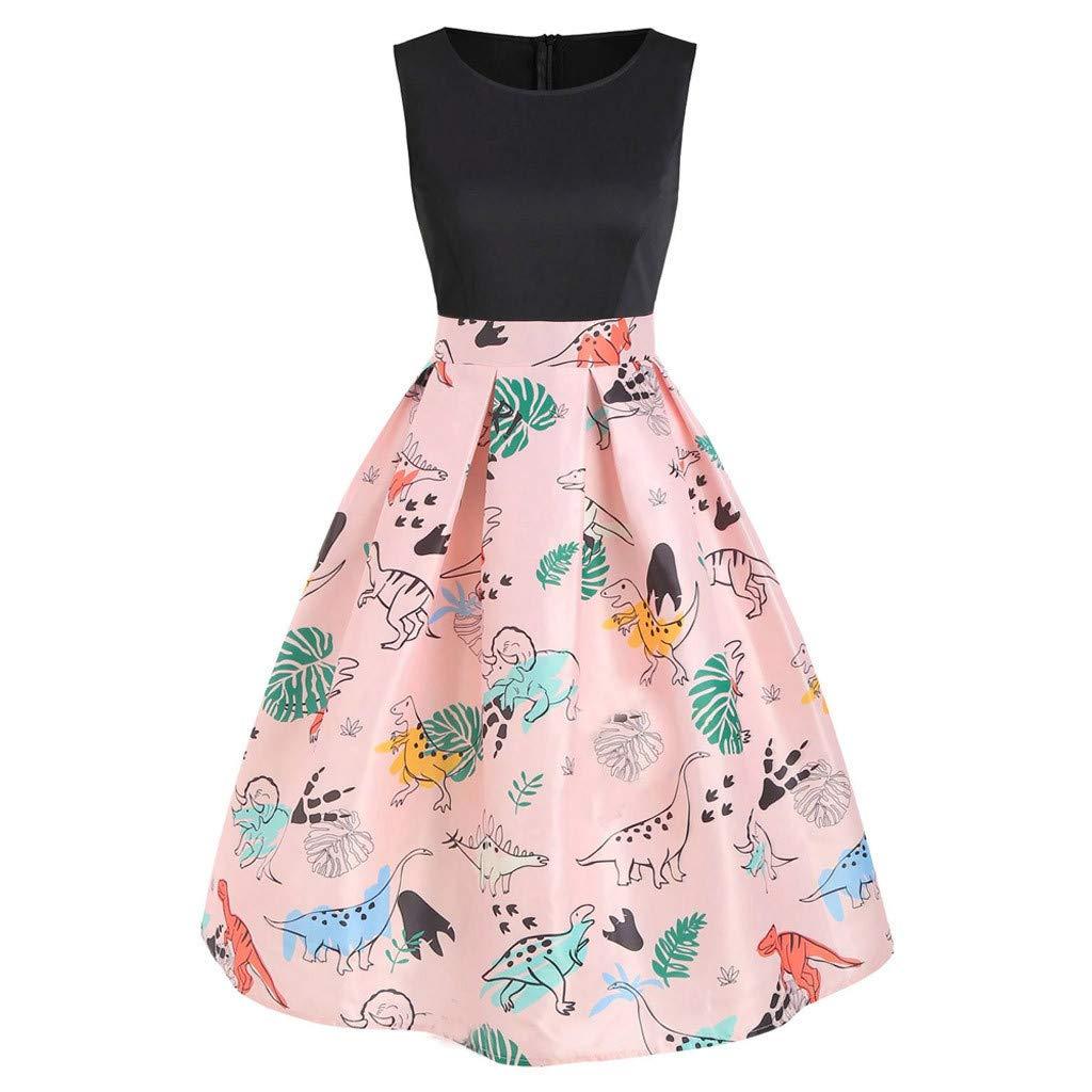 ℱLOVESOOℱ Women Dinosaur Printed Mini Dress Plus Size O-Neck Sleeveless Tunic Tank Dress Ladies Vintage Casual Swing Dress Pink by ℱLOVESOOℱ